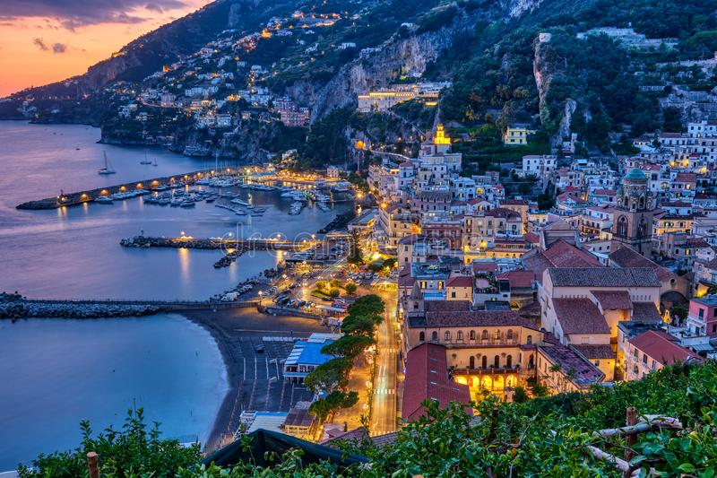 View of Amalfi after sunset stock images