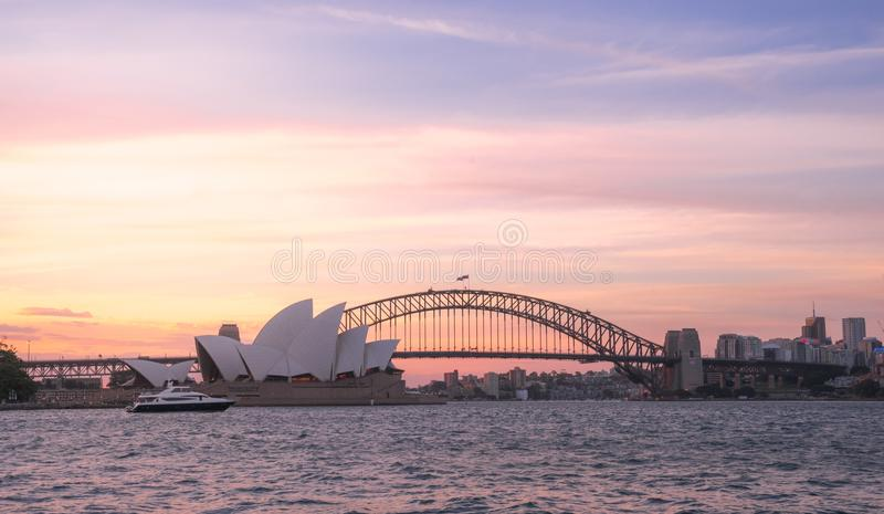 View of amazing beautiful burning red sunset sky above the Opera stock photo