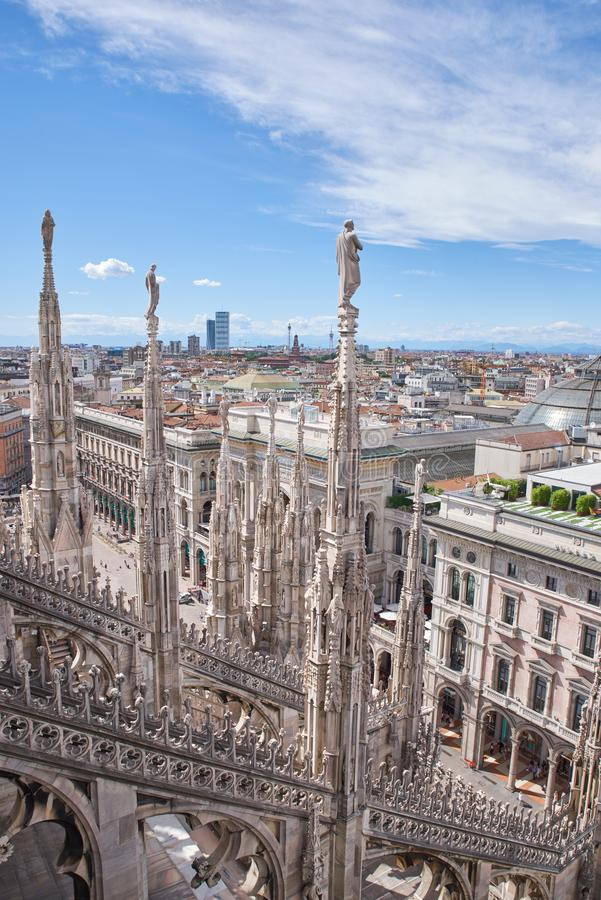 View of amazing gothic cathedral Duomo di Milano. stock image