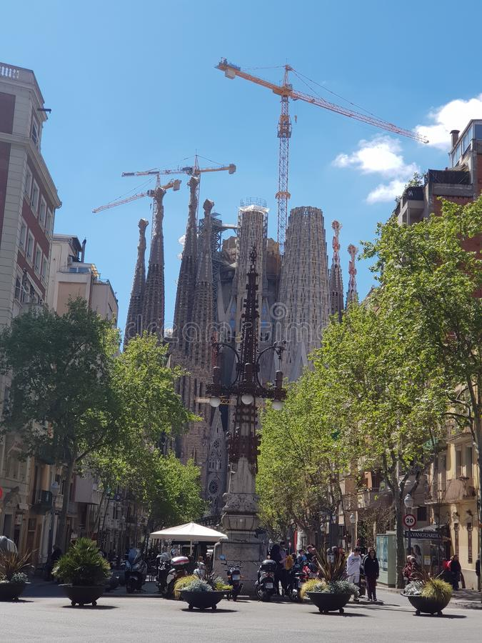 View of amazing unique Sagrada Familia, Barcelona,Spain stock photos