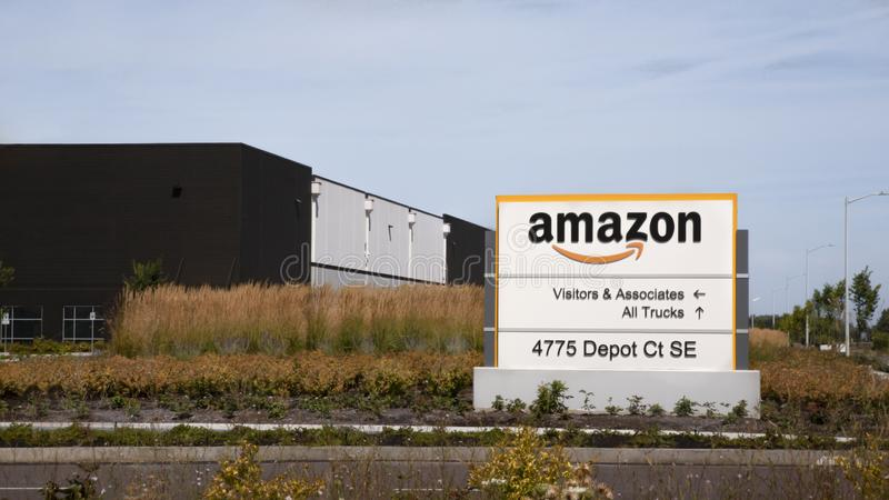 View of the Amazon Logistics/Product Distribution Center Sign. Salem, Oregon / United States - 08/14/2019: Front View of the Amazon Logistics/Product royalty free stock photo