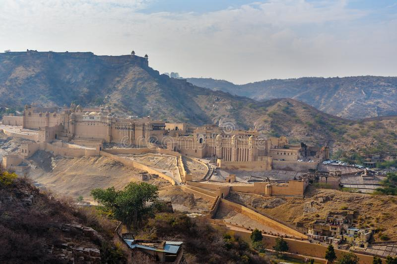 View of Amber fort and palace. Jaipur. Rajasthan. India stock image