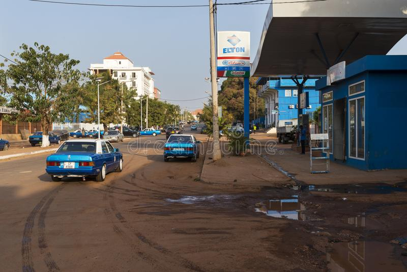 View of the Amilcar Cabral Avenue Avenida Amilcar Cabral in the city of Bissau, Republic of Guinea-Bissau. Bissau, Republic of Guinea-Bissau - January 28, 2018 royalty free stock image