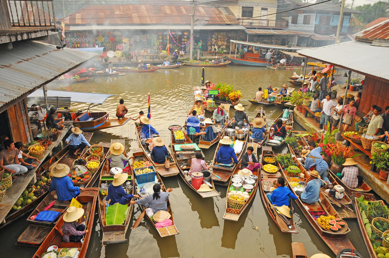View of Amphawa Floating market, Amphawa, Thailand. Boats loaded with fruits and vegetables in Amphawa Floating Market, Bangkok, Thailand. Amphawa Floating royalty free stock images