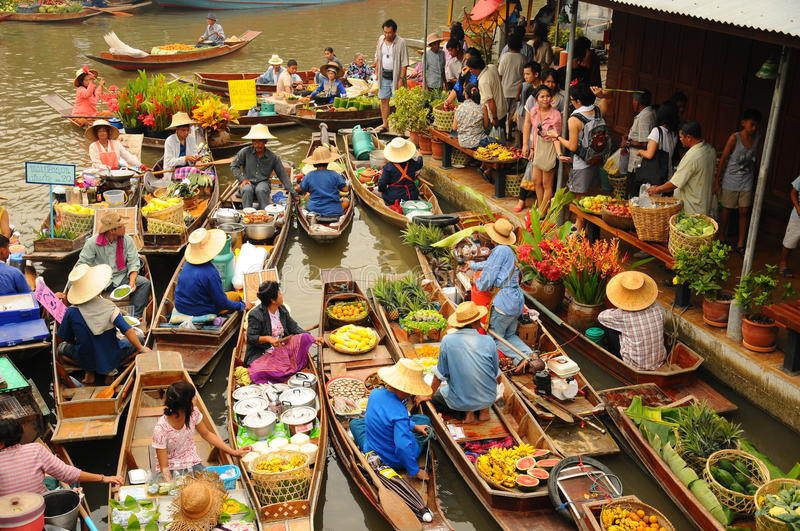 View of Amphawa Floating market, Thailand. Boats loaded with fruits and vegetables in Amphawa Floating Market, Bangkok, Thailand. Amphawa Floating Market is one royalty free stock photography