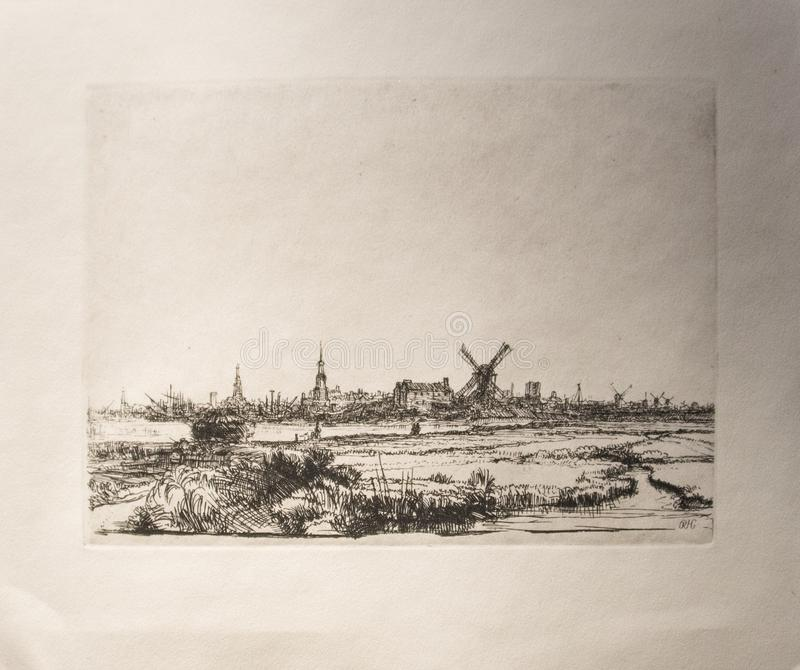 View of amsterdam from the northwest from 1640. by Rembrandt. View of amsterdam from the northwest from 1640. This is an impression from a reproduction plate. An royalty free illustration