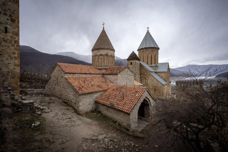 Ananuri fortress with orthodox monastery, Georgia. View of Ananuri fortress with orthodox monastery, Georgia royalty free stock photography