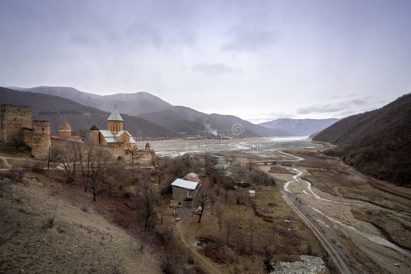 Ananuri fortress with orthodox monastery, Georgia. View of Ananuri fortress with orthodox monastery, Georgia stock photos