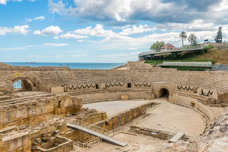 View at the ancient Amphiteater of Tarragona and the Mediterranean Sea - Spain stock images