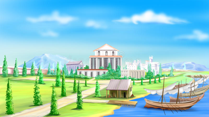 View of the Ancient City vector illustration