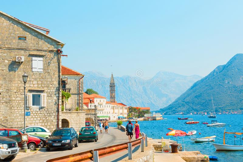 View ancient city of Perast. Montenegro royalty free stock photo