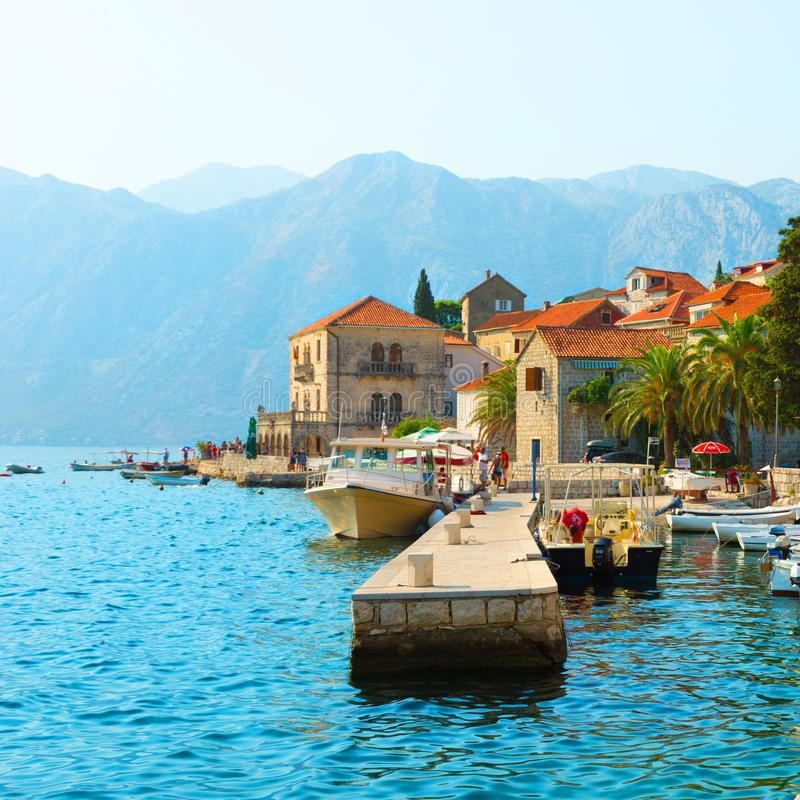 View ancient city of Perast. Montenegro royalty free stock images