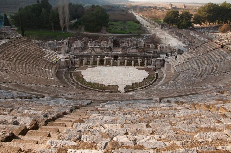 View of the ancient city from the top of the Ephesus Theater. The ancient city is listed as a UNESCO World Heritage Site. Turkey. View of the ancient city from stock images