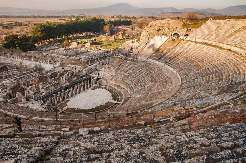 View of the ancient city from the top of the Ephesus Theater. The ancient city is listed as a UNESCO World Heritage Site. Selcuk, Izmir, Turkey royalty free stock photography