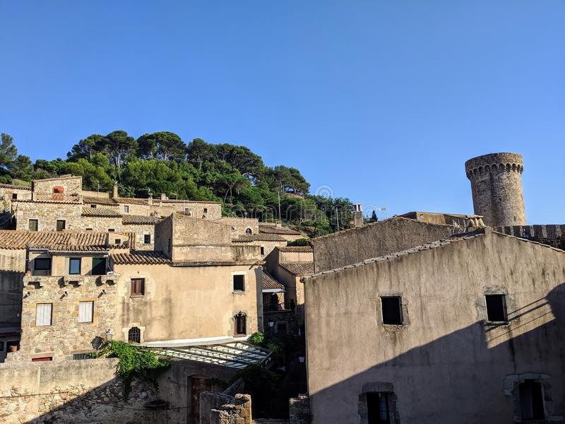 View of the ancient city of Tossa de Mar, Spain royalty free stock images