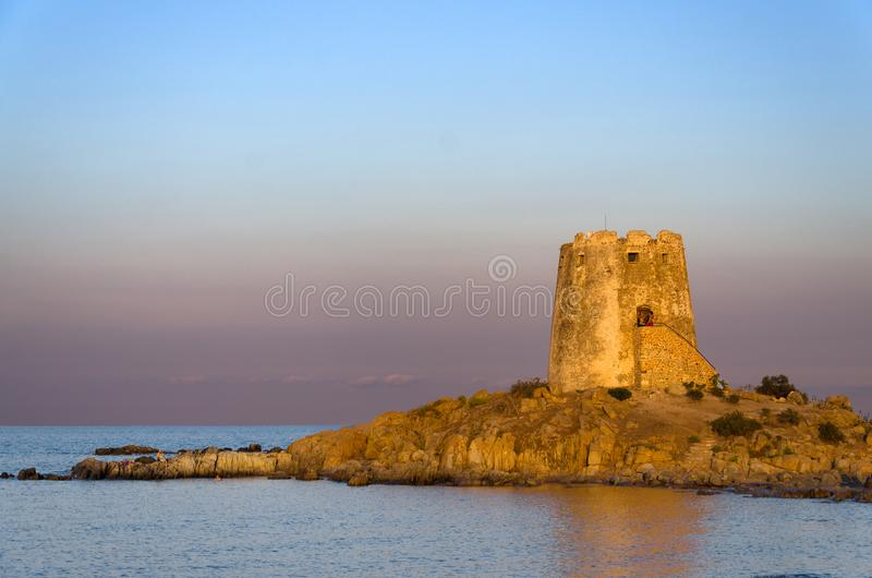 Sardinia, Barì coastal tower. View of ancient coastal tower near Barisardo, in Sardinia, Italy royalty free stock image