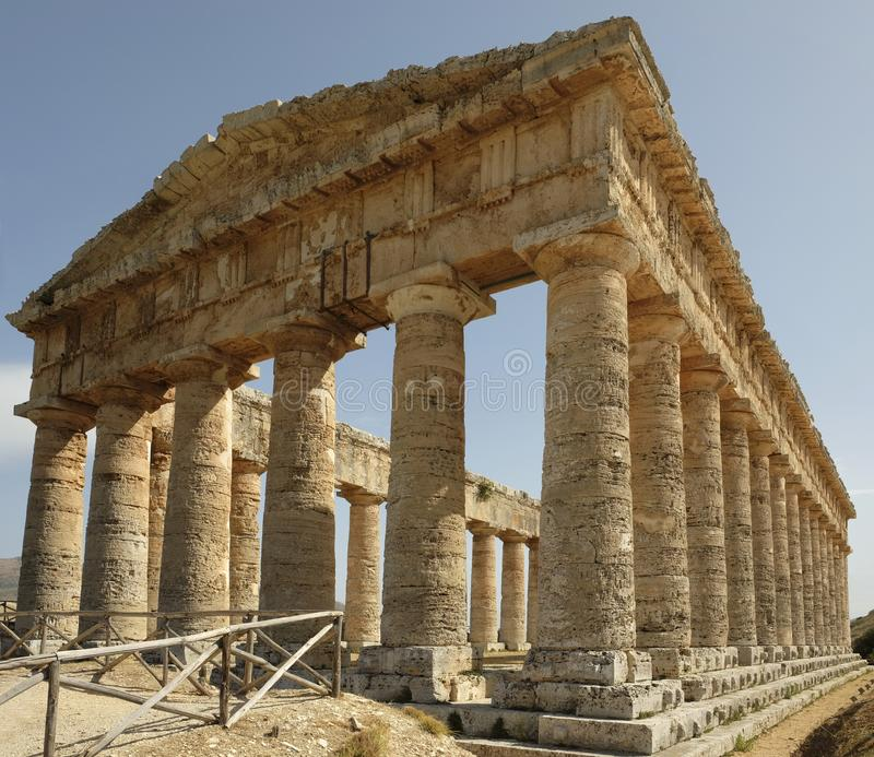 View of the ancient Greek doric temple in Segesta royalty free stock images