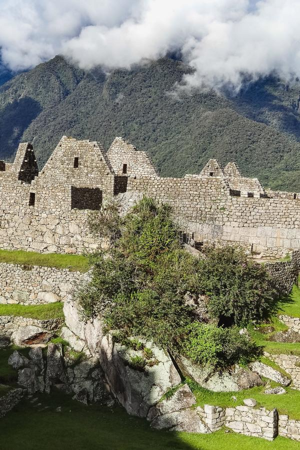 View of the ancient inca city of machu picchu royalty free stock images