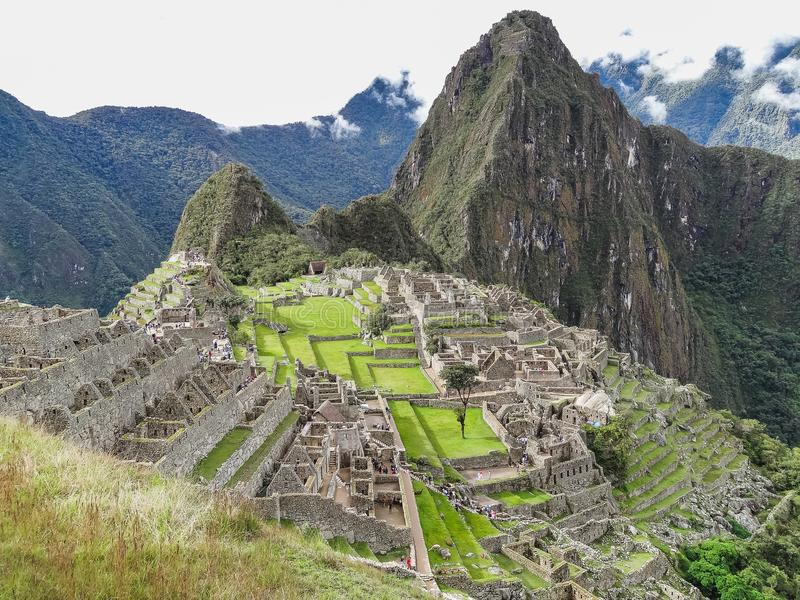 View of the ancient inca city of machu picchu stock photography