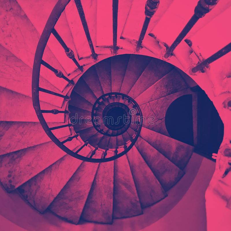 View of an ancient spiral staircase vector illustration