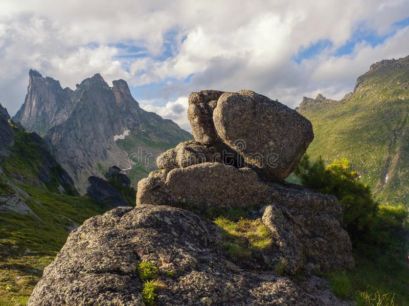 View of the ancient stones in the Ergaki Nature Park. Siberian wildlife stock photography
