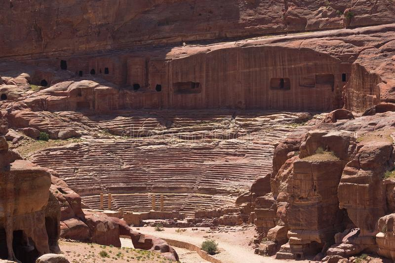 View on the ancient theater with columns in the rock royalty free stock photography