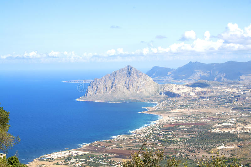 View from the ancient town of Erice, Sicily, Italy royalty free stock photo