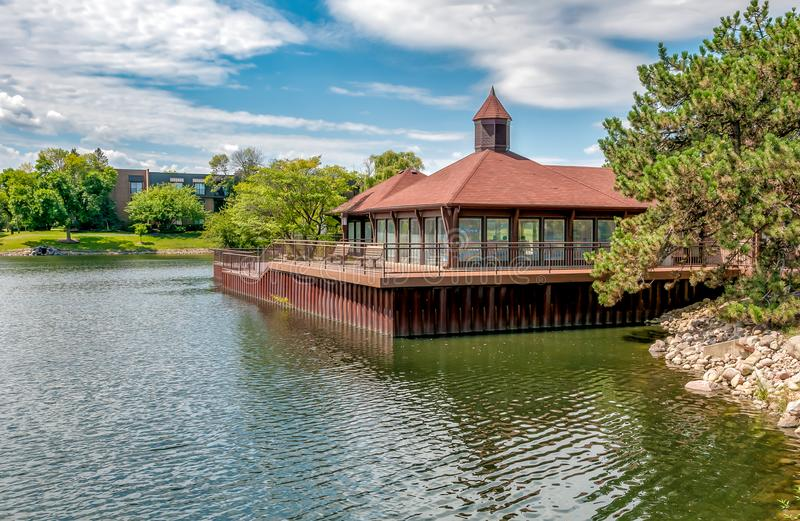 View of Ancient Tree Pavilion in the Northbrook village, located at the northern edge of Cook County, United States. View of Ancient Tree Pavilion in the stock photos
