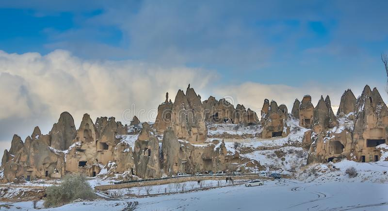 View of ancient Uchisar cave town and a castle of Uchisar dug from a mountains in Cappadocia, Central Anatolia,Turkey royalty free stock photography