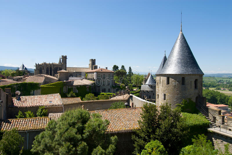 View Of Ancient Watchtower And Church In Carcasson Royalty Free Stock Photos