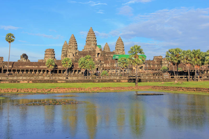 View of angkor wat temple reflection on the water at siem reap, Cambodia. stock photos