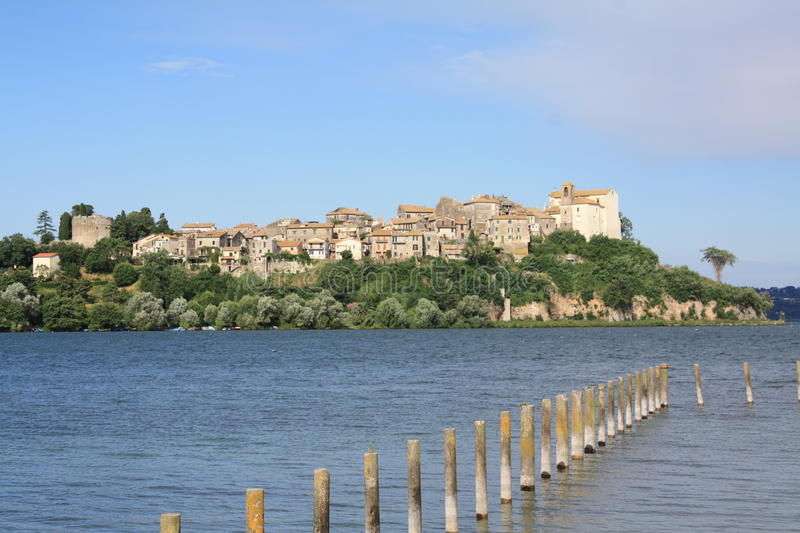 View of Anguillara (Rome, Italy). Anguillara is a town and comune in the province of Rome, in the region of Lazio of central Italy stock photography