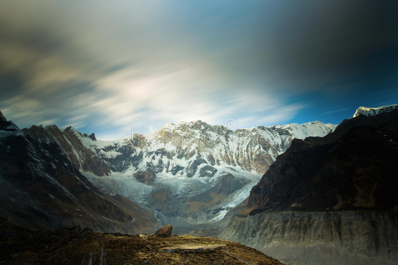 View of Annapurna I from Annapurna Base Camp Himalaya Mountains. In Nepal at sunrise stock photos