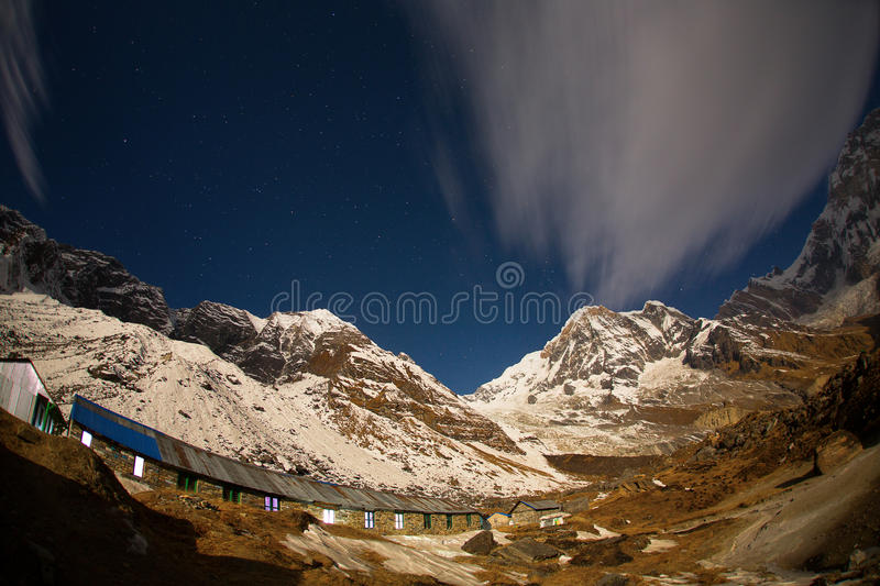 View of Annapurna I from Annapurna Base Camp Himalaya Mountains. In Nepal at sunrise stock image