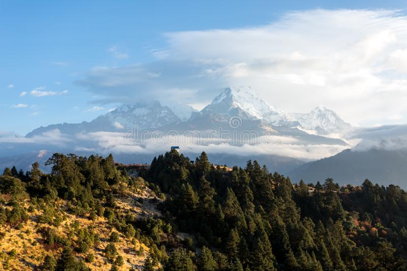 View of Annapurna mountain range from Poon Hill 3210 m on sunrise. It`s the famous view point in Gorepani village in Annapurna. Conservation area, Nepal royalty free stock photo