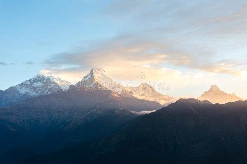 View of Annapurna mountain range from Poon Hill 3210 m on sunrise. It`s the famous view point in Gorepani village in Annapurna. View of Annapurna mountain range royalty free stock photo