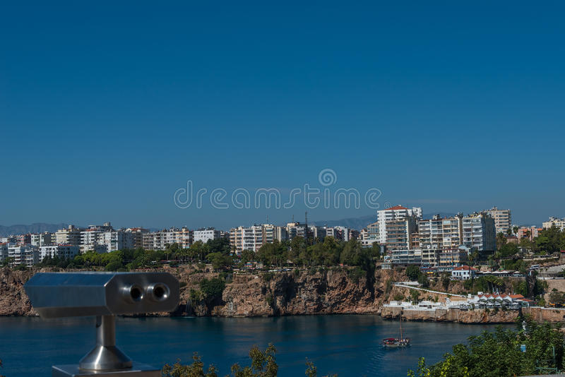 View of Antalya, Mediterranean sea and sightseeing telescope, Tu. Rkey, 2014 stock image