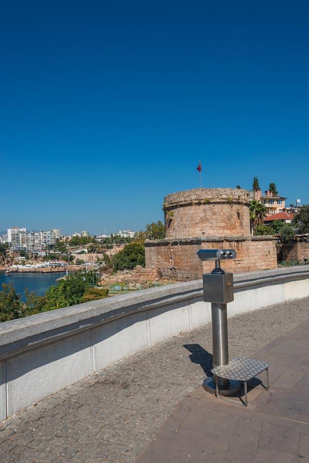 View of Antalya, Mediterranean sea and sightseeing telescope, Tu. Rkey, 2014 stock photos