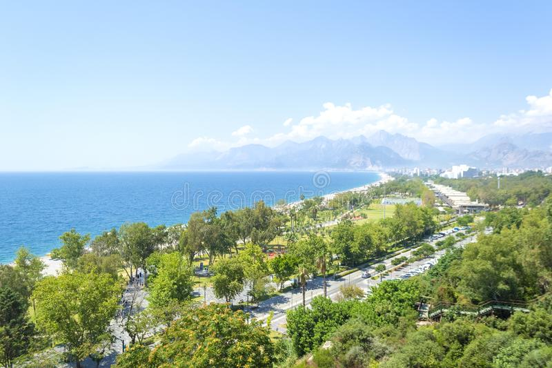 View of Antalya and the Mediterranean sea in Turkey in summer day. Aerial view of Antalya and the Mediterranean sea in Turkey in summer day stock image