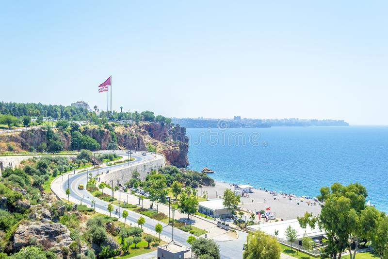 View of Antalya and the Mediterranean sea in Turkey in summer day. Aerial view of Antalya and the Mediterranean sea in Turkey in summer day stock photos