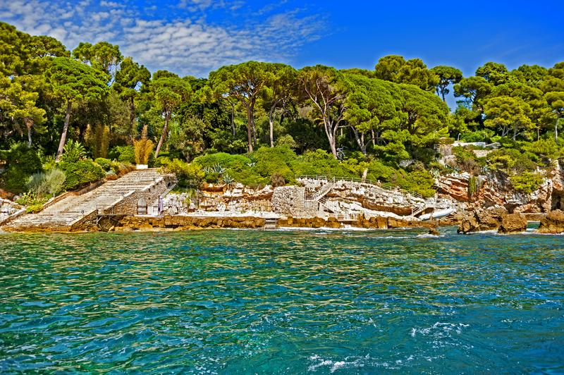 Antibes coastline, France. View of Antibes coastline, a Mediterranean resort in the southeastern France, on the Cote de Azur, between Cannes and Nice stock image