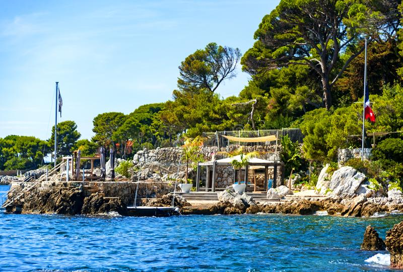 Antibes coastline, France. View of Antibes coastline, a Mediterranean resort in the southeastern France, on the Cote de Azur, between Cannes and Nice royalty free stock photos