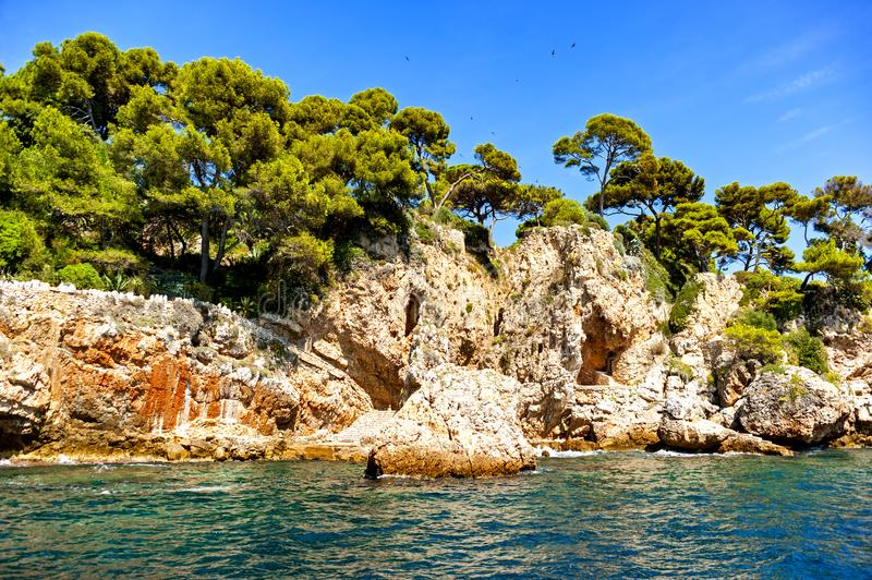 Antibes coastline, France. View of Antibes coastline, a Mediterranean resort in the southeastern France, on the Cote de Azur, between Cannes and Nice royalty free stock photography