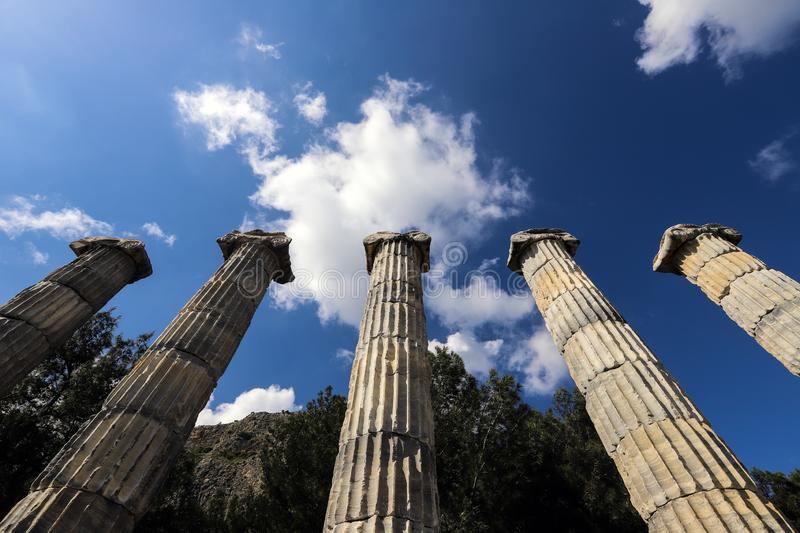 View of Antic columns. Ground view looking up at Antic columns royalty free stock image