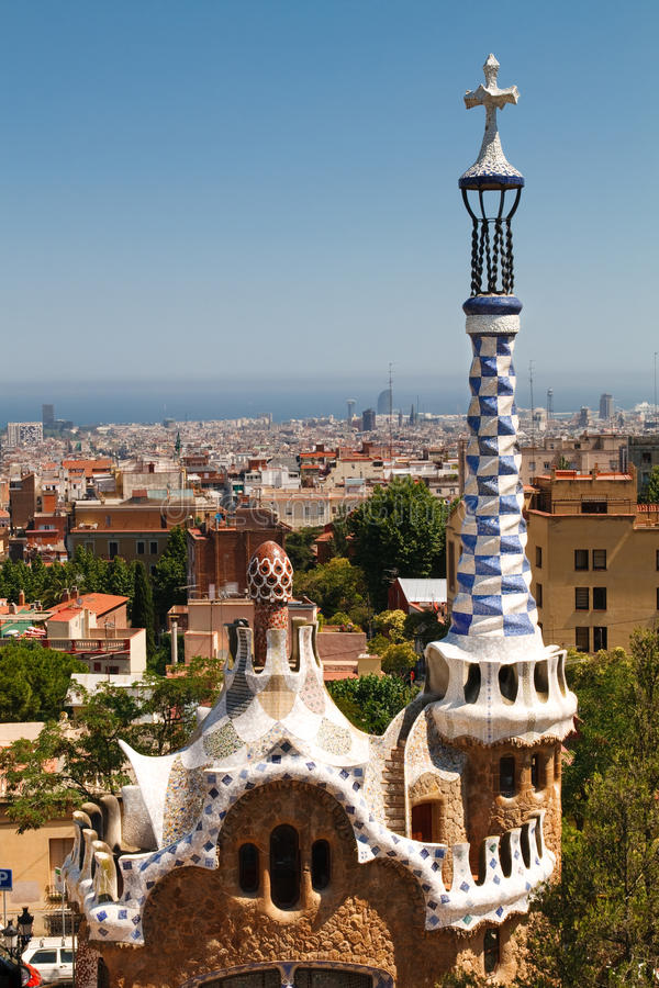 View from Antoni Gaudi's Park Guell, Barcelona stock images