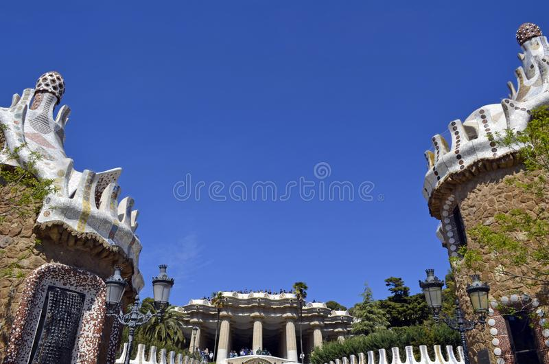 View of Antoni Gaudi s Park Guell, Barcelona, Spain. stock image