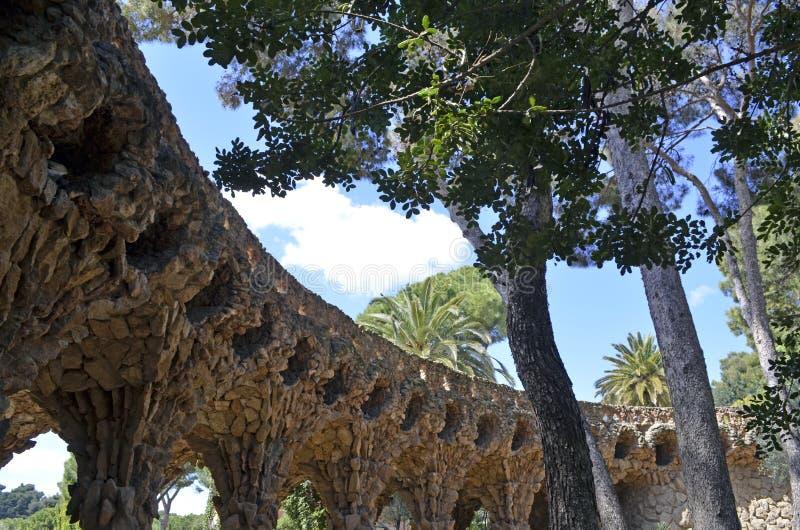 Detailed view closeup of Antoni Gaudi s Park Guell, Barcelona, Spain. stock photos