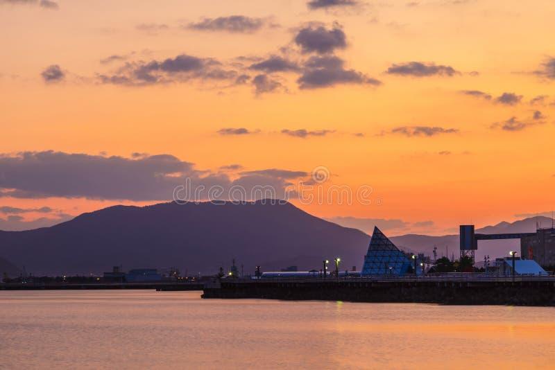 View of Aomori Bay at sunrise scene, Aomori, Tohoku, Japan. royalty free stock photo