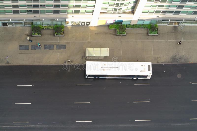 View from apartment of high rise building on the street and bus of Manhattan, New York. USA royalty free stock photos