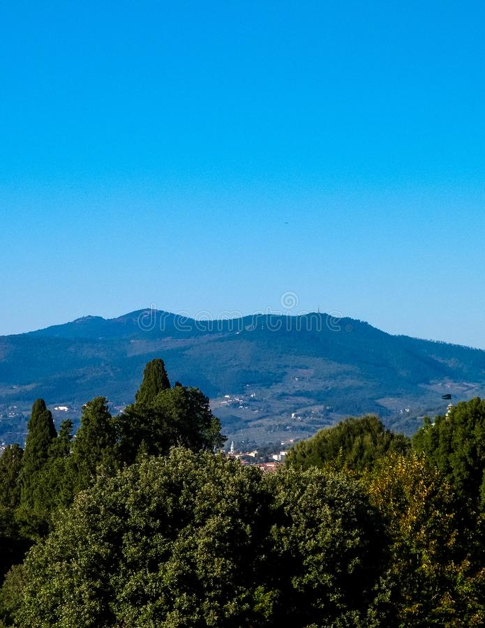 View of the Apennines near Florence, Italy. View of the Apennines near Florence, Tuscany. Vacations in Italy, travel concept stock photo